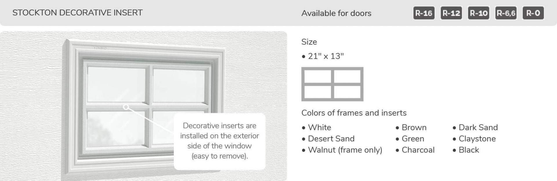 Stockton Decorative Inserts, 21' x 13', available for doors R-16, R-12, R-10, R-6,6 and R-0